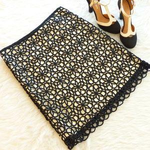 Postmark Black Dilated Lace Pencil Skirt